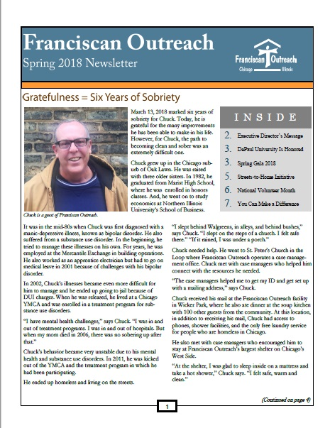Spring 2018 Newsletter Front Cover